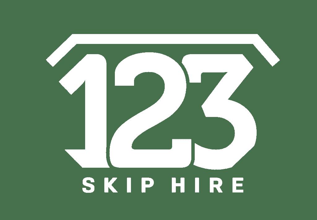 123 Skip Hire Logo Mono White CMYK